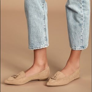 NIB Lulu's Ellya Taupe Suede Pointed-Toe Loafers